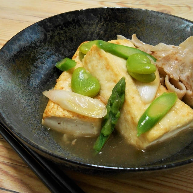 簡単!!豆腐のステーキ 豚肉と春野菜のたっぷり餡かけ の作り方/レシピ