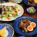 ◆秋刀魚のオイル漬けサラダと豚の角煮でおうちごはん♪~ゆるやか糖質制限♪ by fellowさん
