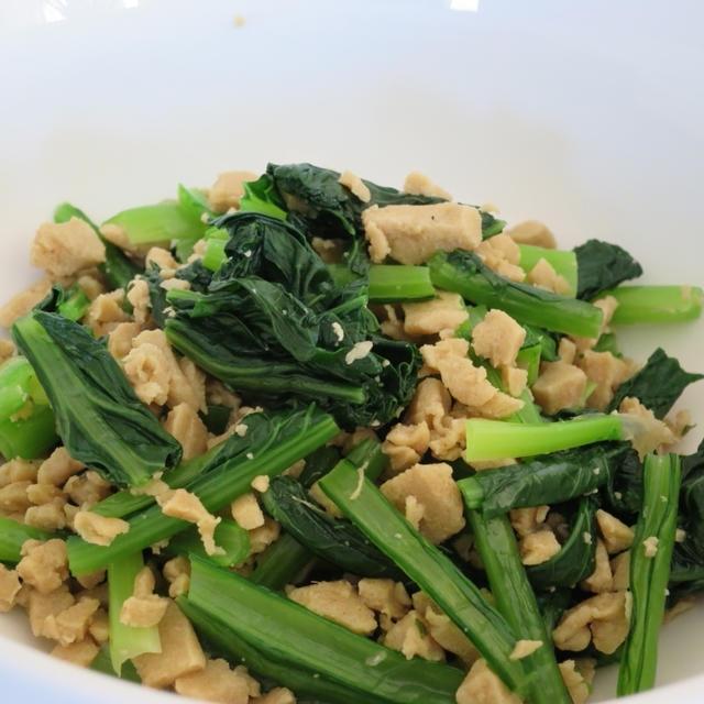 No.029 そぼろ高野豆腐と小松菜の和え物