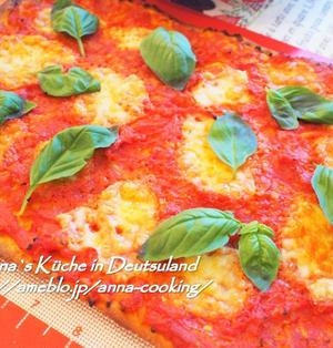 【主食】発酵不要で簡単!ドイツのピザ♡マルゲリータ風フラムクーヘン