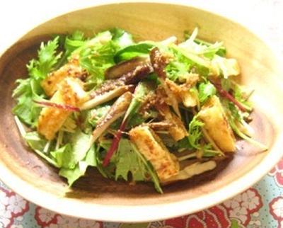 水菜とごぼうのジンジャーサラダ