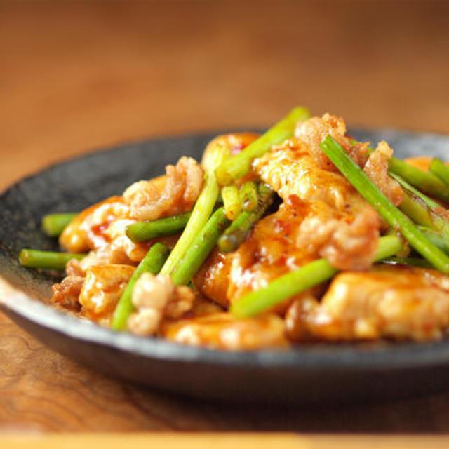 にんにくの芽と鶏胸肉のオイスターソース炒め 、 しっとり鶏胸肉レシピ