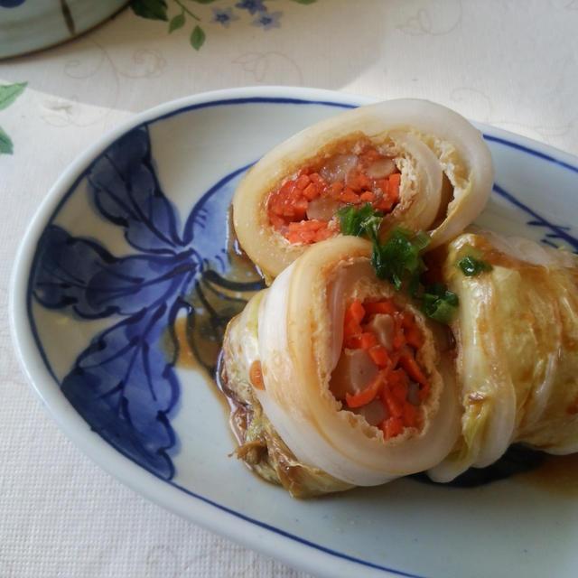 白菜と油揚げの味噌ロール