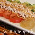 蒸し鶏と野菜(トマト.キュウリ.クラゲ)+バンバンジージェルソース