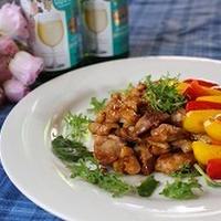茹で鶏の甘辛煮パプリカソテー