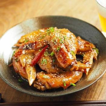 レシピブログ連載、手羽先のピリ辛甘酢照り焼き、お手軽美味しい手羽先料理
