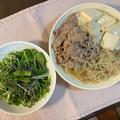 肉豆腐♪ 水菜と塩昆布のサラダ♪