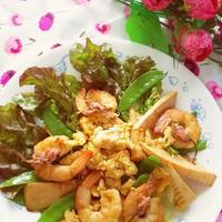ふわふわ卵とぷりぷり海老と春野菜のサラダ!