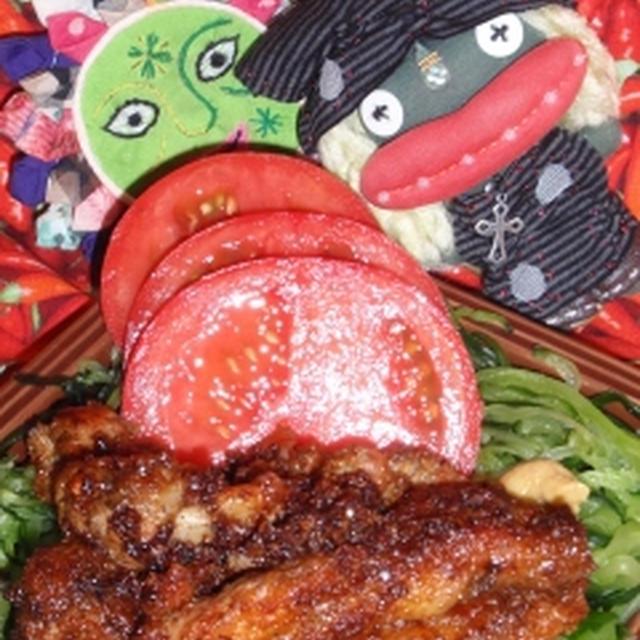 鶏肉の辣油入り冷やし中華風&キュウリとじゃこの中華風炒め(お家カフェ)