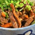 ■季節の常備菜【芋茎(ズイキ)と人参・椎茸の麺つゆ煮】 by あきさん