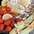 オーブン任せ。野菜のレモングリルととりさん愛がー
