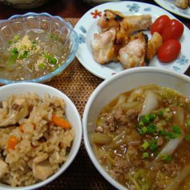 マーボー白菜と、鶏の炊き込みご飯