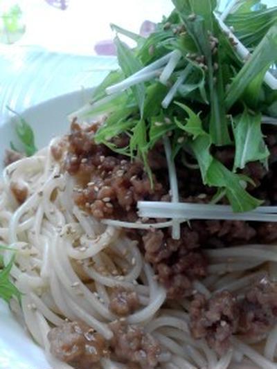 ランチ『ひき肉とたっぷり水菜の和風パスタ』
