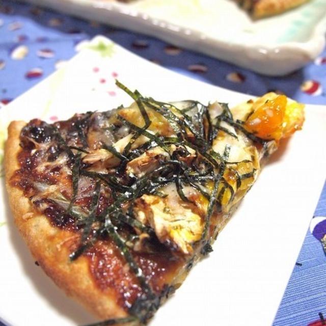 さんまの蒲焼缶で山葵クリーム米粉ピザ