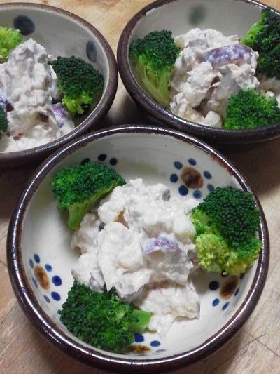 カリフラワーとサツマイモの豆腐マヨネーズサラダ
