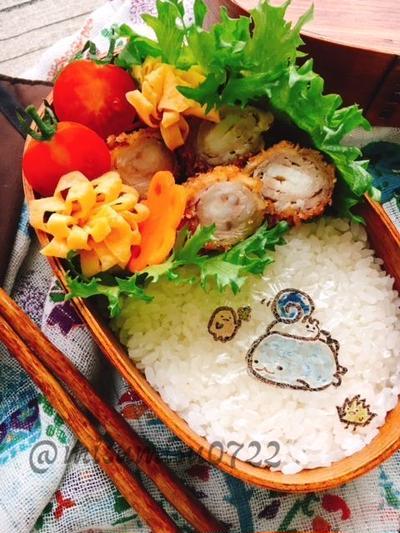 【キャラ弁】豚薄切り肉のぐるぐる巻きとんかつすみっコ弁当