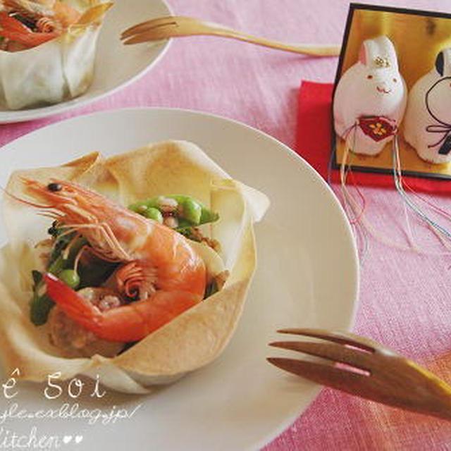 ひなまつり料理☆春野菜と魚介のサラダ 雑穀ドレッシング ~レシピ~