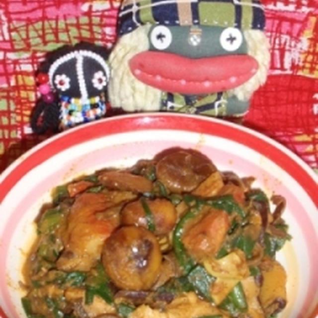 栗とベーコンの薬膳カレー煮&しらたきとカニかまの中華風サラダ(お家カフェ)