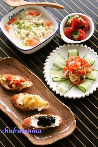 3種のブルスケッタ / 白菜とササミのクリームシチュー