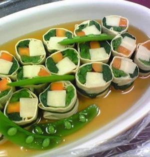 ■小松菜と高野豆腐の湯葉巻き 【レシピ】