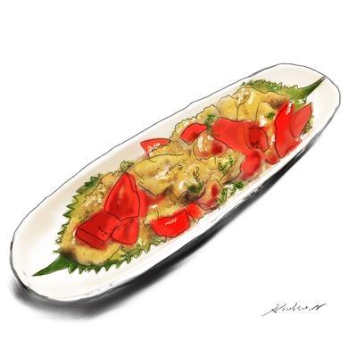冷たい焼きナスとトマトのオクラマリネ