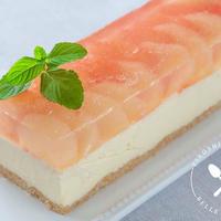 グレープフルーツと桃ゼリーの濃厚レアチーズケーキのレシピ・作り方