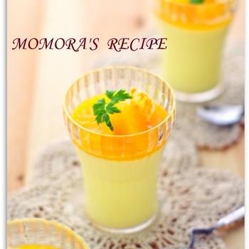 レンジで簡単ヘルシー冷たいお菓子♪フレッシュオレンジと豆乳のフルフルゼリー♡ノンシュガー夏休みに