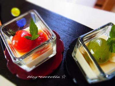asunaさんレシピで豆乳プリンとcandyトマト