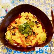 春キャベツと海老入り卵焼きの辛ラーメン♪ Spicy Noodle with Fried Egg