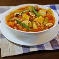 鶏肉と野菜をたっぷり食べる ミネストローネ風スープ