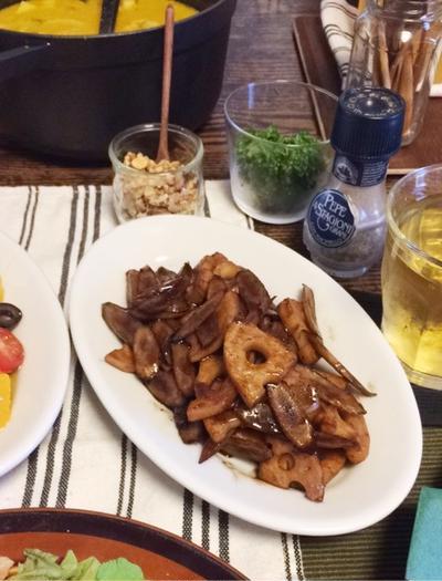根菜ときのこのバルサミコソテー