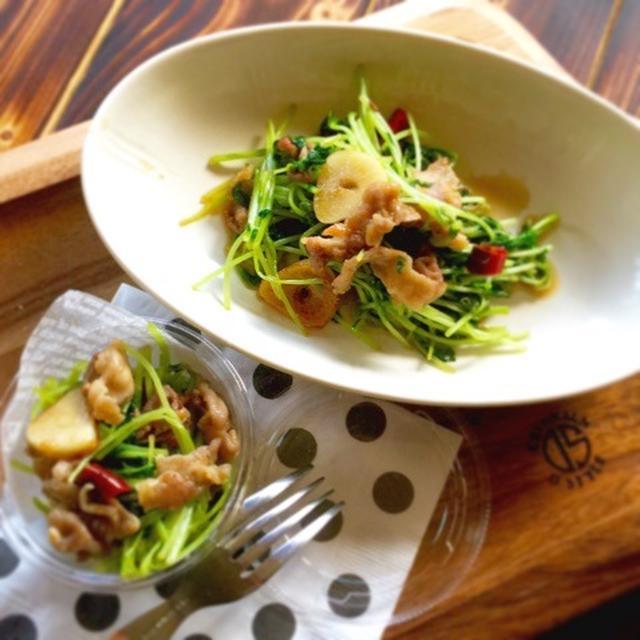 節約にぴったり⁈豆苗と豚肉のカリカリ炒めのレシピ。