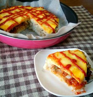 ケーキみたいなオムライスピザ♪ハーフ&ハーフで2度美味しい♡*オムライスレシピコンテスト*