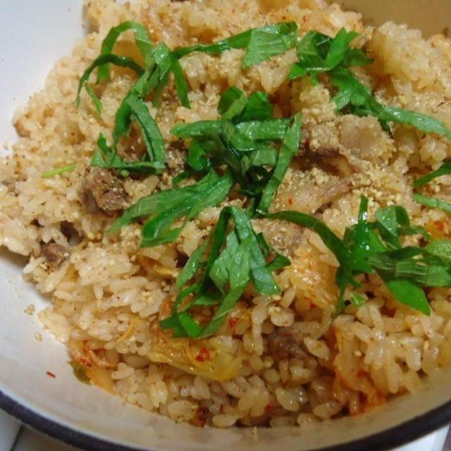 キムチと牛肉の炊き込みご飯
