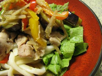 鶏と野菜の漬け冷やしうどん(レシピ)