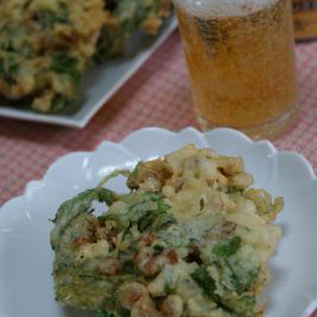 納豆とチーズと三つ葉のかき揚げ