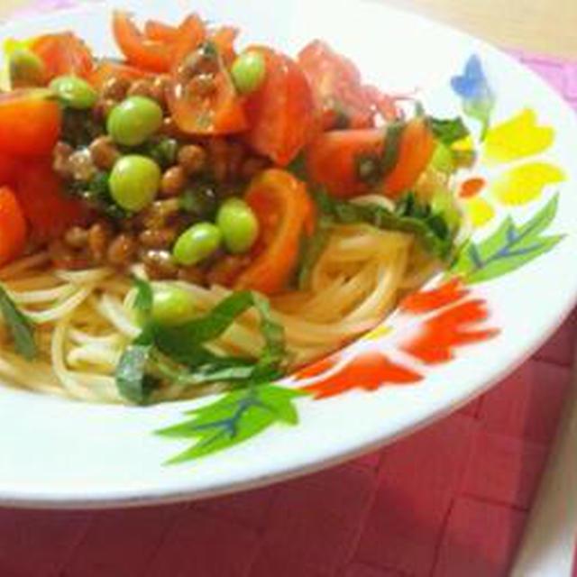 トマトの豆豆パスタ
