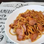 中華麺で作るナポリタン