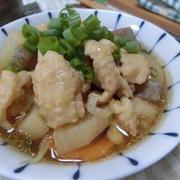 鶏皮で楽々☆ モツ煮込み風♪ 根菜と鶏皮煮込み