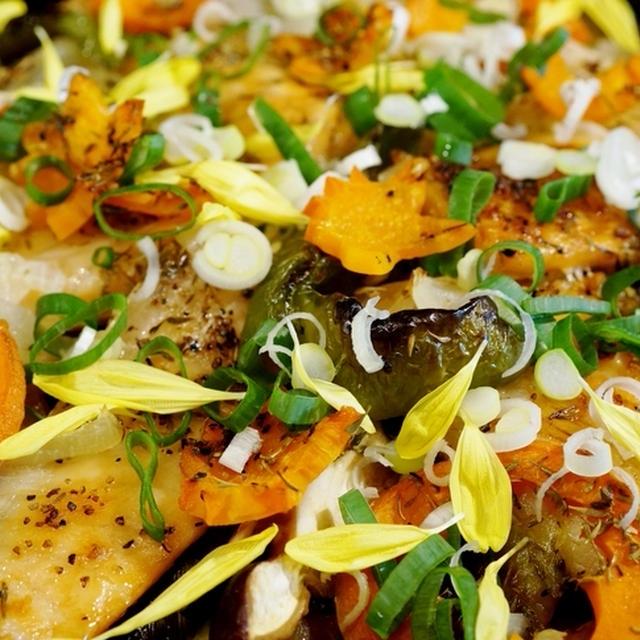 季節料理【鮭ハラス+野菜で和風イタリアン】ニュー!追いがつおつゆで 簡単!プロ仕様です♪