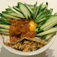 天かすビビン丼(韓国風?梅キューVer.)