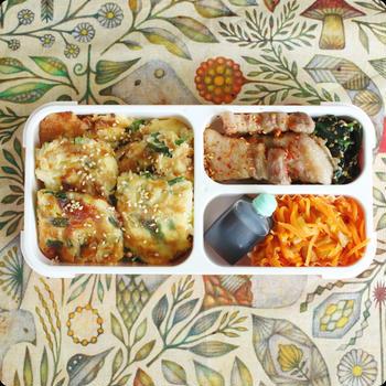 チヂミとサムギョプサルの韓国風弁当