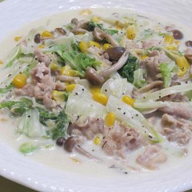 豚肉と白菜の白だしクリーム煮