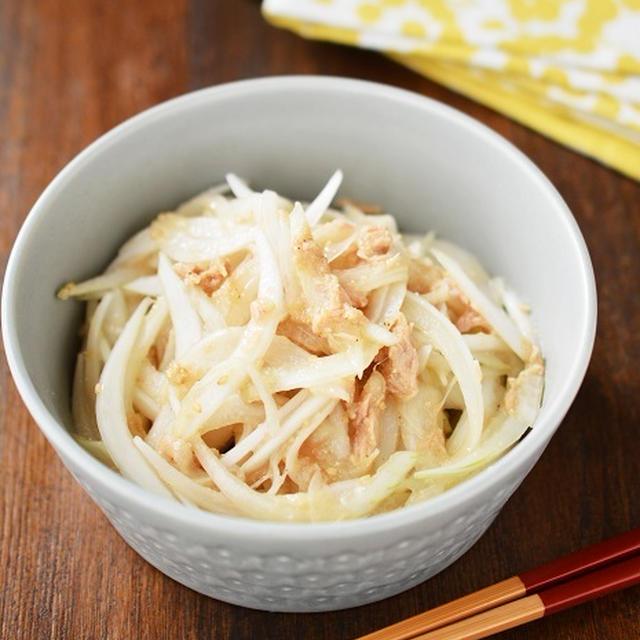 切って混ぜるだけ「新玉ねぎとツナのごま酢和え」←さっぱりいくらでも食べれる感じです◎