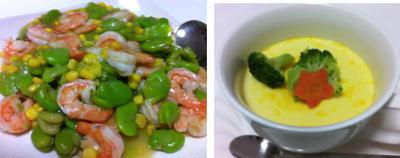 豆乳茶碗蒸し、海老と蚕豆の塩炒め、豆腐サラダ 他