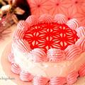 鬼滅の刃風、麻の葉柄のピンクのケーキ