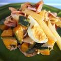 茹で卵とかぼちゃの塩昆布パスタ