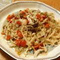 プチトマトと白いきのこの冷たいスパゲッティ