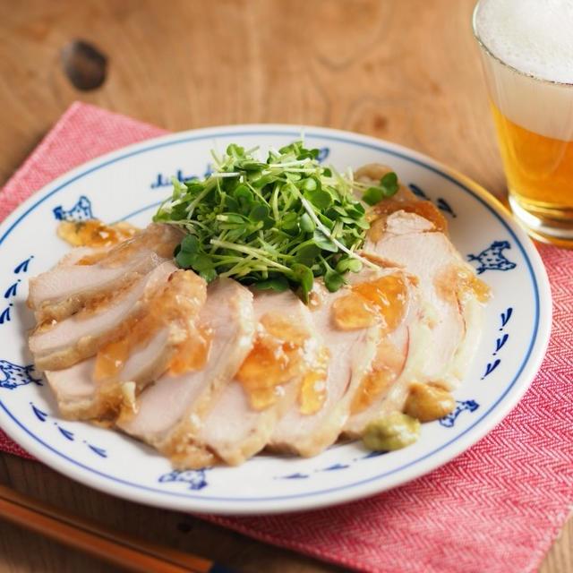 炊飯器で鶏むね肉のぽん酢サラダチキン