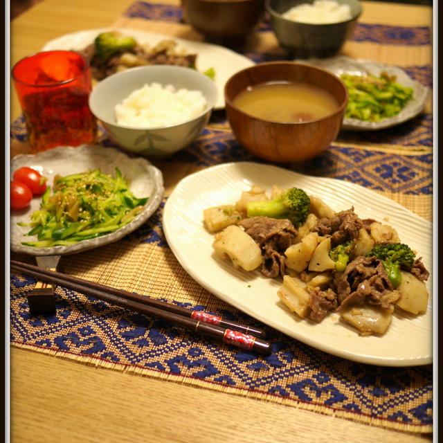 叩き蓮根と牛肉の醤油炒め Lotus roots and beef soysauce saute